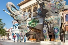 Image of Dubai Parks and Resorts entrance welcomed by 2 big elephant statue in Duabi UAE