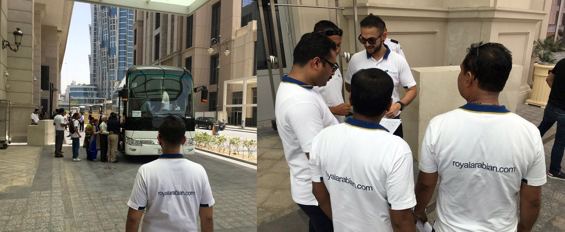 Image of Royal Arabian Faculty busy discussing about the tour plan with the team and with bus ready for the ride