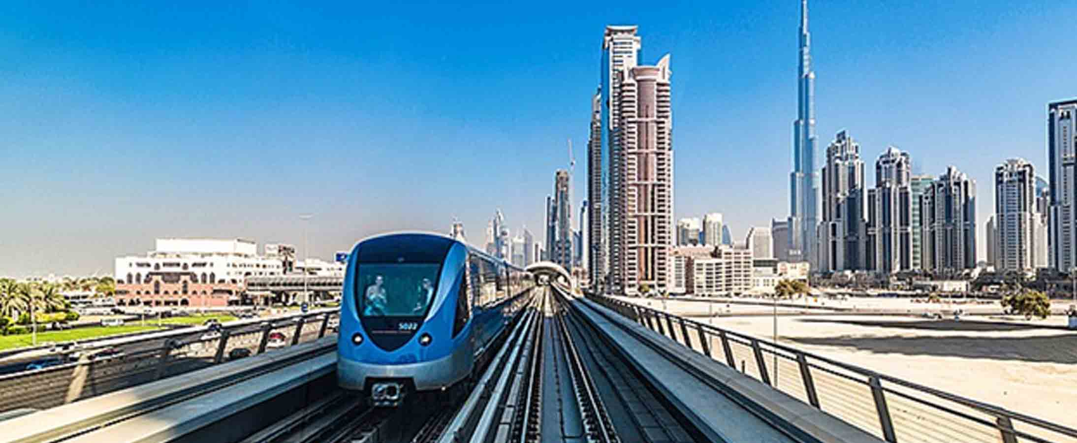 Image of Front view of Dubai UAE metro on the move