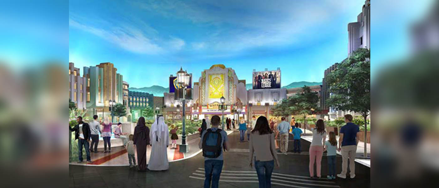 Image, front view of Warner Bros World and tourists enjoying the view