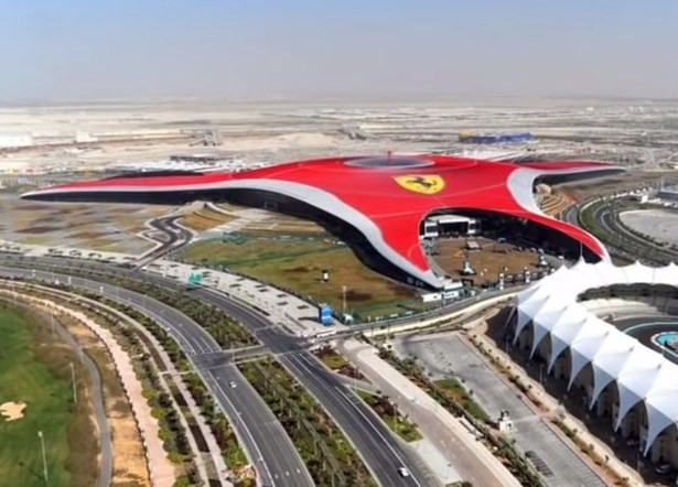 Image of Ferrari World's top or aerial view, Abu Dhabi located on Yas Island