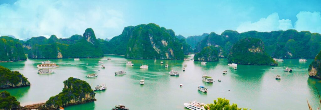Image of beautiful nature with water resource & ships in Vietnam