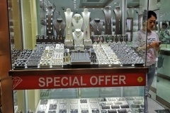Image of gold, silver, diamonds & precious metals & stones showroom display of jewelry kept for sale in Dubai's Gold Souk market