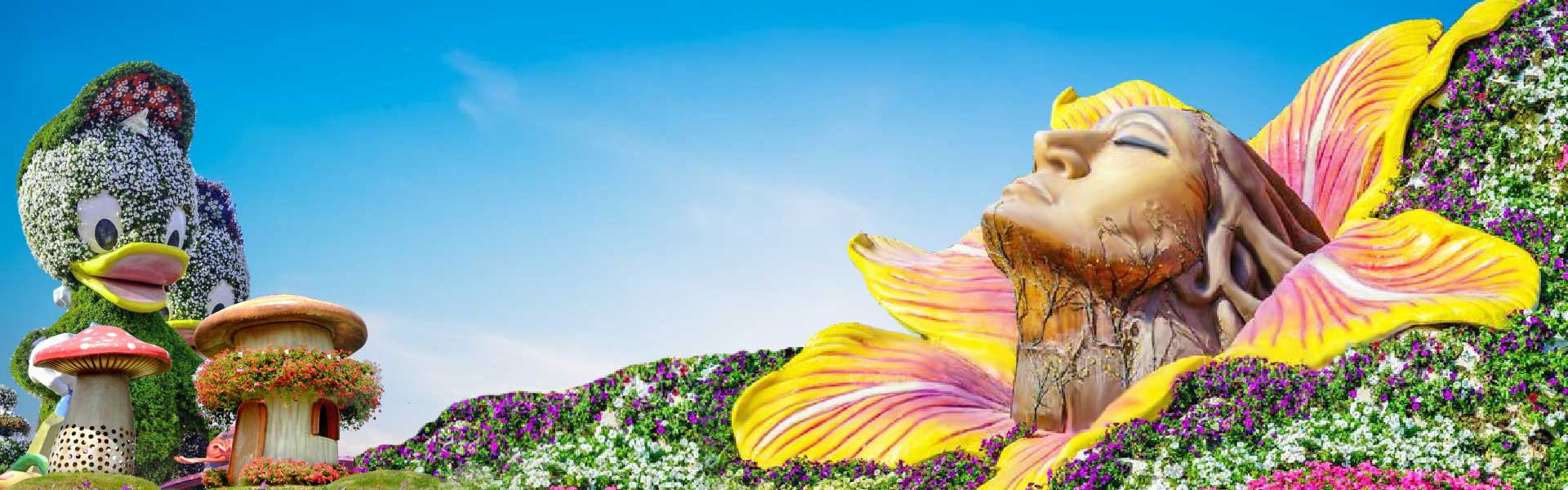 Banner image of a beautiful view of flowers and plants given a shape of human and animal