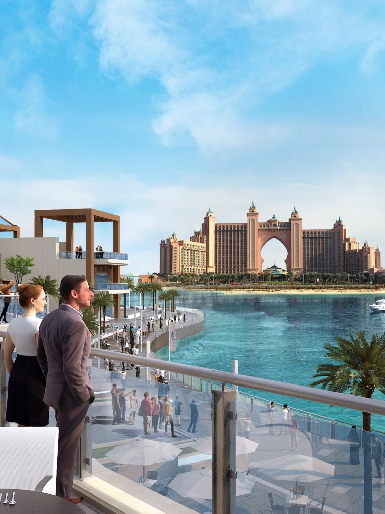 Banner Graphic image of hotel Atlantis and people enjoying the view from distance